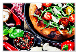 pizza and fresh italian ingredients