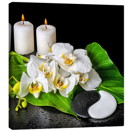 Lienzo  Spa concept with candles and orchids