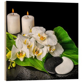 Cuadro de madera  Spa concept with candles and orchids