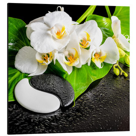 Aluminio-Dibond  Spa arrangement with white orchid