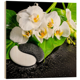 Cuadro de madera  Spa arrangement with white orchid
