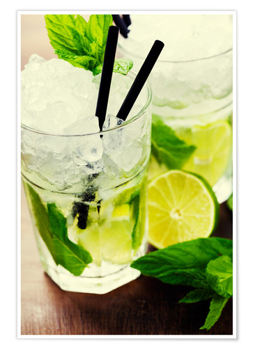 Póster Mojito cocktail with ingredients