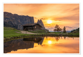 Póster  Alpe di Siusi with Schlern at sunset - Dieter Meyrl