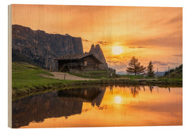 Cuadro de madera  Alpe di Siusi with Schlern at sunset - Dieter Meyrl