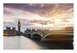 Póster  LONDON Westminster Bridge and Big Ben at Sunset - rclassen