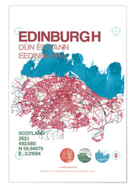 Póster  Edinburgh city map - campus graphics