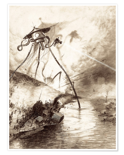 Póster Martian Fighting Machine in the Thames Valley