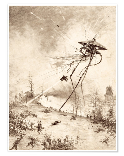 Póster Martian Fighting Machine Hit by Shell