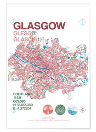 Póster  Glasgow city map - campus graphics