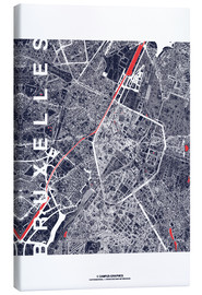 Lienzo  Brussels map city midnight - campus graphics