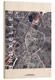 Cuadro de madera  Brussels map city midnight - campus graphics