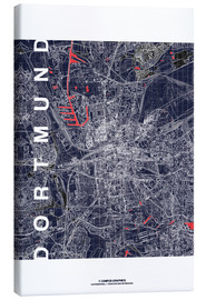 Lienzo  City of Dortmund Map midnight - campus graphics