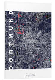 Cuadro de PVC  City of Dortmund Map midnight - campus graphics