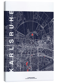 Lienzo  Karlsruhe city map at midnight - campus graphics