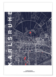 Póster  Karlsruhe city map at midnight - campus graphics