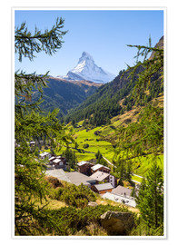 Póster View of Zermatt and the Matterhorn, Swiss Alps, Switzerland