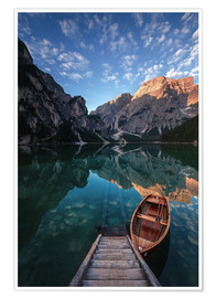 Póster  Early morning on Lake Braies / Lago di Braies - MUXPIX
