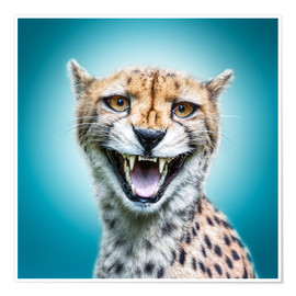 Póster Funny Wild Faces Cheetah