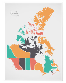 Póster  Canada map modern abstract with round shapes - Ingo Menhard