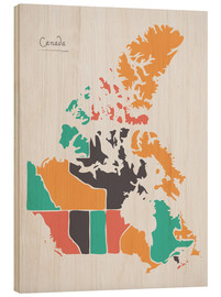 Cuadro de madera  Canada map modern abstract with round shapes - Ingo Menhard