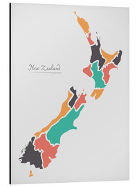 Cuadro de aluminio  New Zealand map modern abstract with round shapes - Ingo Menhard
