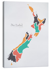Lienzo  New Zealand map modern abstract with round shapes - Ingo Menhard