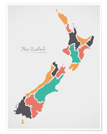 Póster New Zealand map modern abstract with round shapes