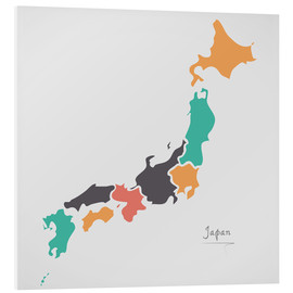 Cuadro de PVC  Japan map modern abstract with round shapes - Ingo Menhard