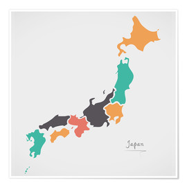 Póster Japan map modern abstract with round shapes