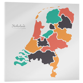 Cuadro de metacrilato  Netherlands map modern abstract with round shapes - Ingo Menhard