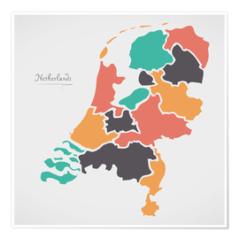 Póster Netherlands map modern abstract with round shapes