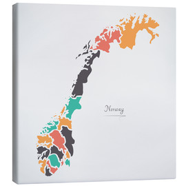 Lienzo  Norway map modern abstract with round shapes - Ingo Menhard