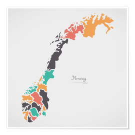 Póster  Norway map modern abstract with round shapes - Ingo Menhard