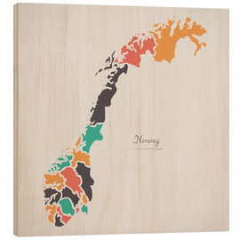 Cuadro de madera  Norway map modern abstract with round shapes - Ingo Menhard