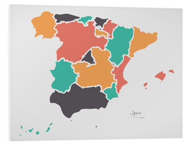 Cuadro de PVC  Spain map modern abstract with round shapes - Ingo Menhard