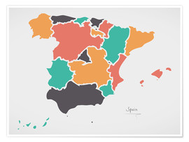 Póster Spain map modern abstract with round shapes