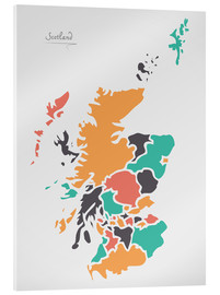 Cuadro de metacrilato  Scotland map modern abstract with round shapes - Ingo Menhard