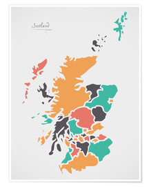 Póster Scotland map modern abstract with round shapes
