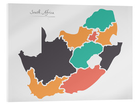 Cuadro de metacrilato  South Africa map modern abstract with round shapes - Ingo Menhard