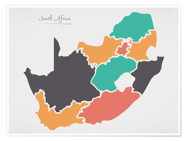 Póster South Africa map modern abstract with round shapes