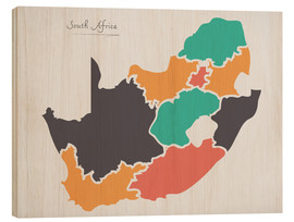 Cuadro de madera  South Africa map modern abstract with round shapes - Ingo Menhard