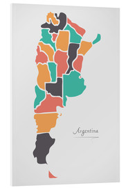 Cuadro de PVC  Argentina map modern abstract with round shapes - Ingo Menhard