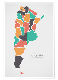 Póster Argentina map modern abstract with round shapes