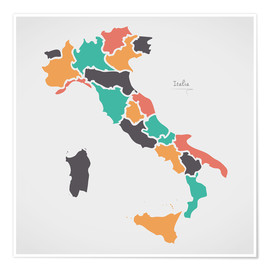 Póster Italy map modern abstract with round shapes