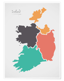 Póster Ireland map modern abstract with round shapes