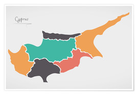 Póster  Cyprus map modern abstract with round shapes - Ingo Menhard