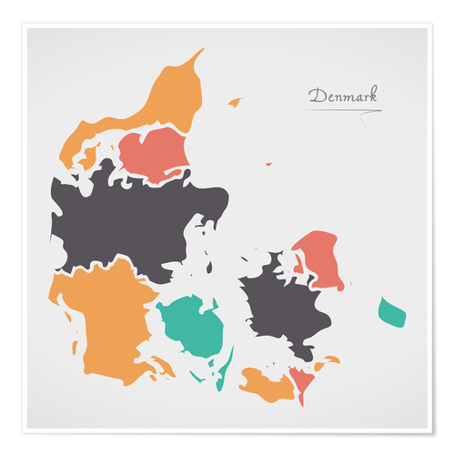 Póster Denmark map modern abstract with round shapes