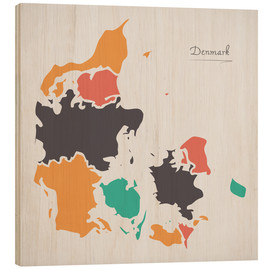 Cuadro de madera  Denmark map modern abstract with round shapes - Ingo Menhard