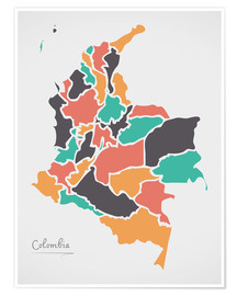 Póster Colombia map modern abstract with round shapes