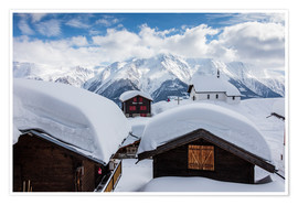 Póster Snowy huts Bettmeralp Switzerland